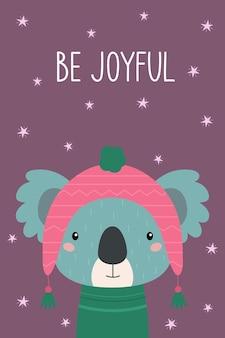 Cartão postal alegre-se coala fofa com um chapéu rosa