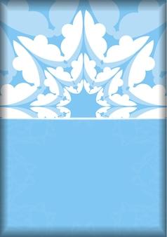 Cartão postal azul modelo com enfeites brancos vintage preparados para a tipografia.