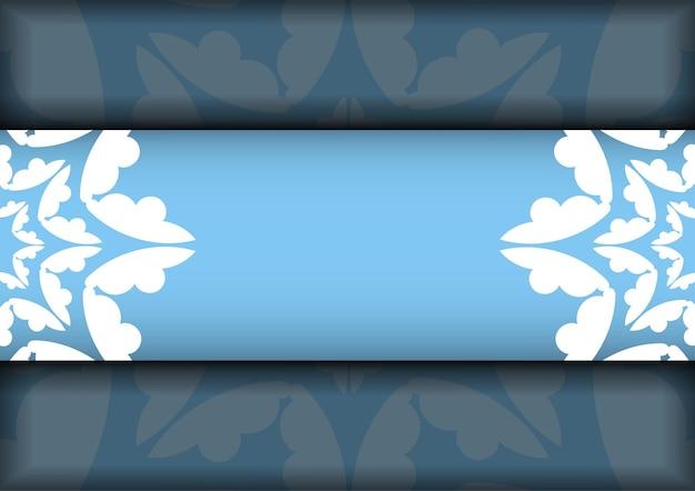 Cartão postal azul modelo com padrão branco vintage preparado para tipografia.