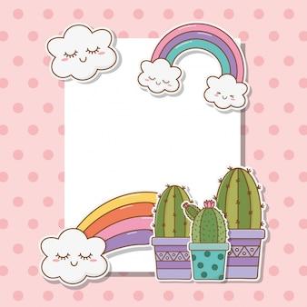 Cartão postal com adesivos kawaii