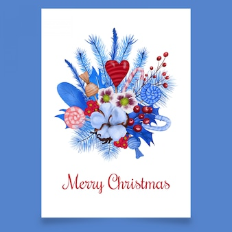 Cartão postal com buquê de natal