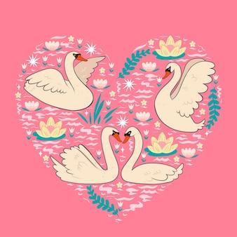 Cartão postal com cisnes na lagoa.