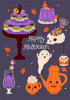 Cartão postal com comida de halloween e inscrição de feliz dia das bruxas. gráficos vetoriais.
