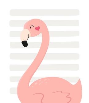 Cartão postal com flamingos fofos em um fundo listrado. ilustração vetorial