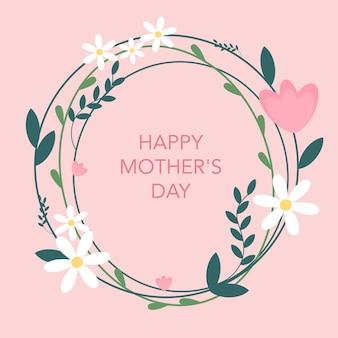 Cartão postal com flores vector feliz dia das mães