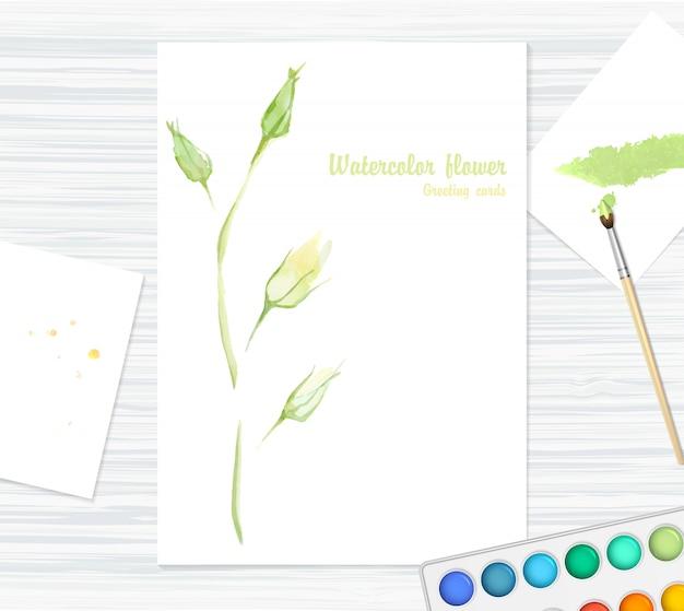 Cartão postal com linda flor aquarela - rose