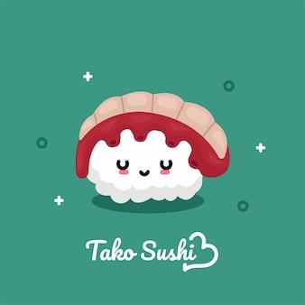 Cartão postal, com, tako, sushi, personagem, ilustração