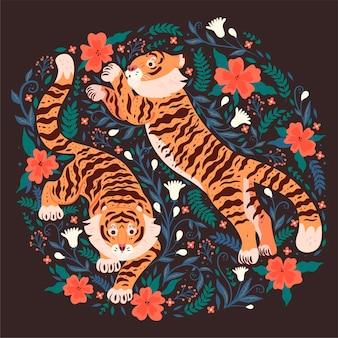 Cartão postal com tigres e flores em um fundo escuro