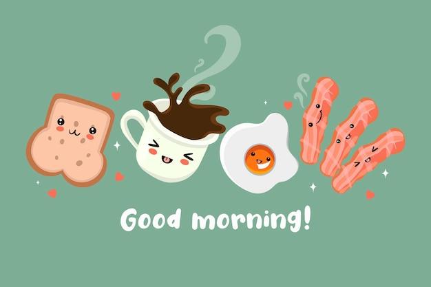 Cartão postal com um café da manhã fofo. bom dia.