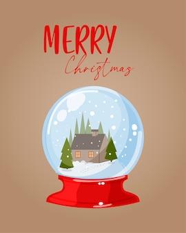 Cartão postal com um globo de neve e parabéns.