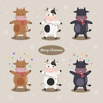 Cartão postal com uma vaca cartão de natal