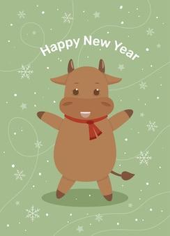 Cartão postal com uma vaca feliz ano novo cartão de natal