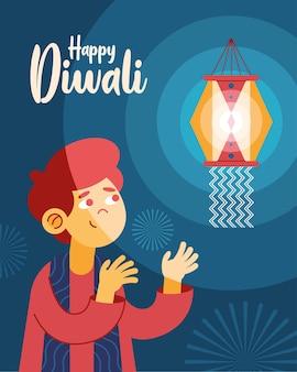 Cartão postal da celebração de diwali feliz