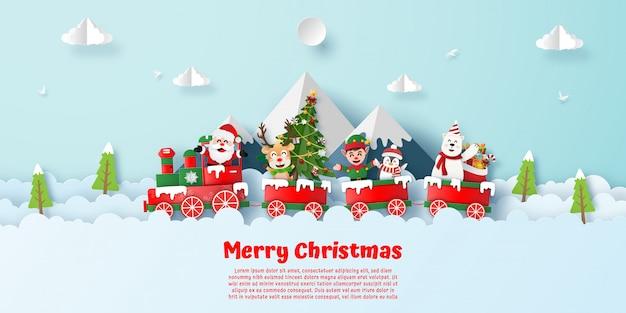 Cartão postal da festa de natal no trem com o papai noel na montanha