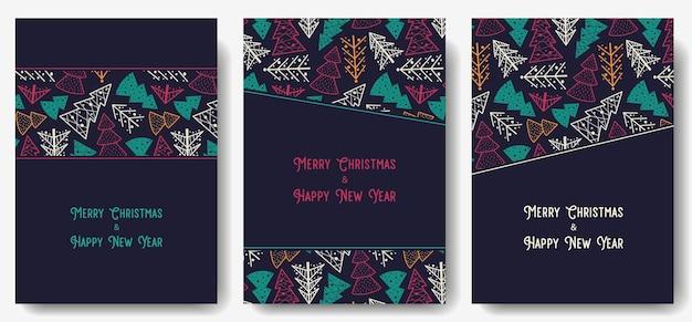 Cartão postal da floresta de natal para o feriado de ano novo