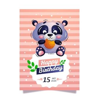 Cartão postal de aniversário com panda