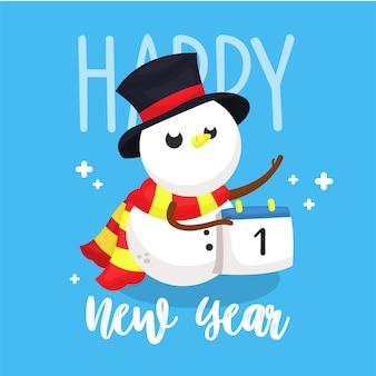 Cartão postal de ano novo com ilustração de boneco de neve personagem segurando o calendário