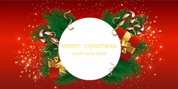 Cartão postal de banner de natal plano de fundo projeto de natal de caixa de presentes decorativa árvore verde pinho