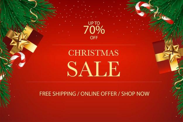 Cartão postal de banner de venda de natal plano de fundo projeto de natal da caixa de presentes decorativa árvore verde pinho