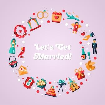 Cartão postal de casamento de design plano e círculo de proposta de casamento
