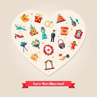Cartão postal de casamento e proposta de casamento de design plano