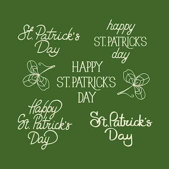 Cartão postal de composição de esboço verde e branco com muitos elementos tradicionais ao redor do texto sobre st. dia de patricks decorado na azeitona