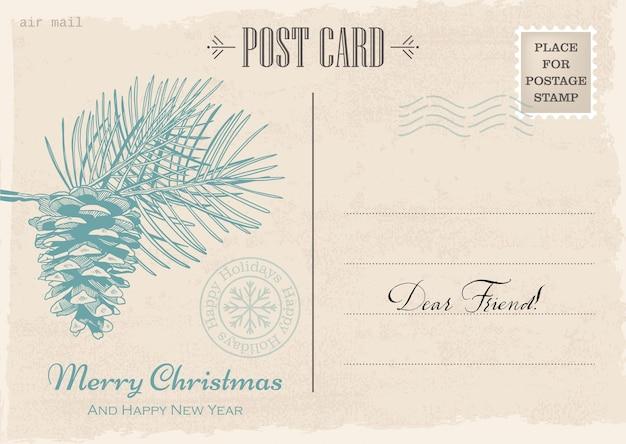Cartão postal de convite de natal e ano novo vintage. correio de natal. ilustração vetorial desenhada à mão