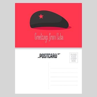 Cartão postal de cuba com ilustração em vetor chapéu vermelho che guevara estrela