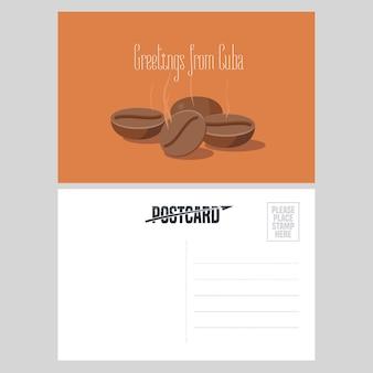 Cartão postal de cuba com ilustração vetorial de grãos de café torrados