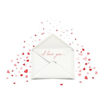 Cartão postal de dia dos namorados com envelope branco
