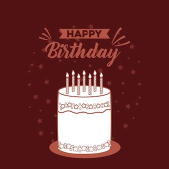 Cartão postal de feliz aniversário com bolo doce