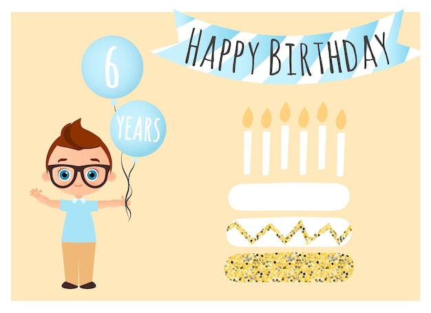 Cartão postal de feliz aniversário young boy tem bolas com os parabéns. estilo liso dos desenhos animados.