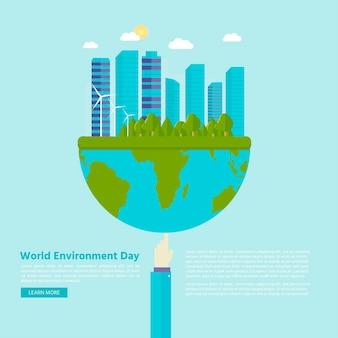 Cartão postal de feliz dia mundial do meio ambiente com fundo verde da cidade, turbina eólica. conceito de ecologia ecológica. salve a terra.