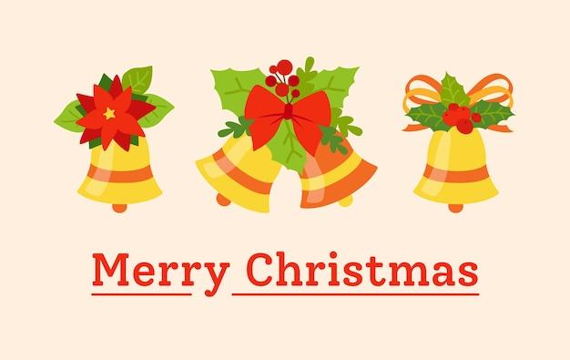 Cartão postal de feliz natal de saudação. sinos com arcos e azevinho