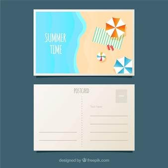 Cartão postal de férias de verão com vista superior de praia