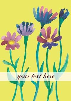 Cartão postal de flores em aquarela