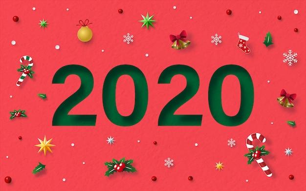 Cartão postal de fundo vermelho de textura de papel de feliz ano novo 2020 com decoração de natal