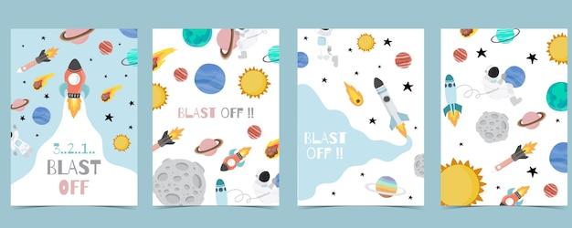 Cartão postal de galáxia com foguete, sol, lua, planeta