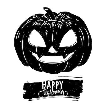 Cartão postal de halloween com abóbora assustadora e texto de caligrafia