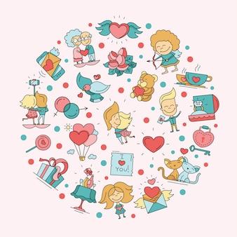 Cartão postal de ícones de amor e romance para o dia dos namorados