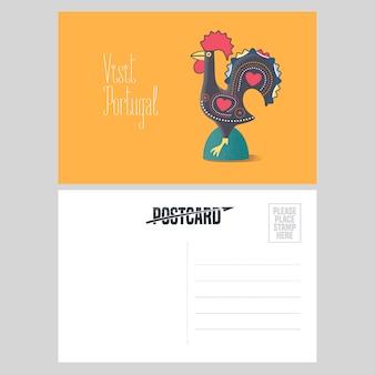 Cartão postal de ilustração vetorial de portugal com galo de barcelos