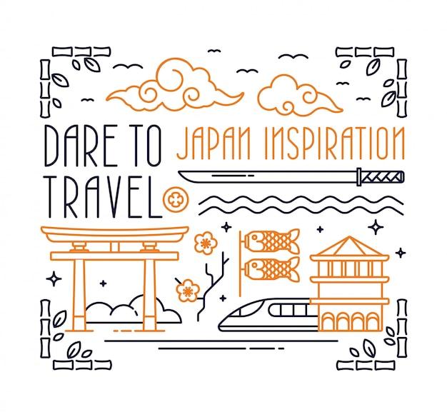 Cartão postal de japão com letras