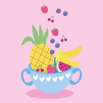 Cartão postal de kawaii bonito com frutas na xícara