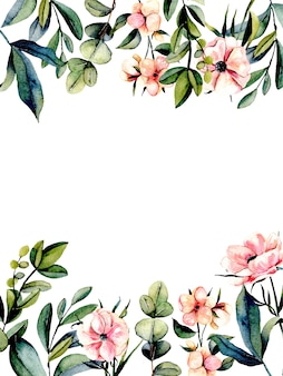 Cartão postal de modelo com flores de anêmona rosa e ramos de eucalipto
