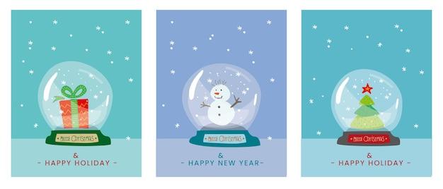 Cartão postal de natal com bugiganga cartaz de feliz natal com globo de neve cartão de felicitações de ano novo