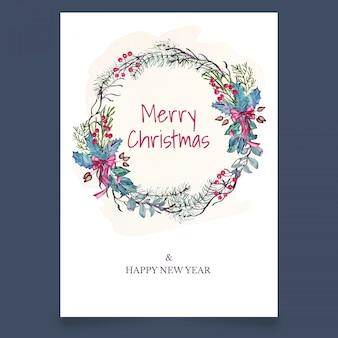 Cartão postal de natal com coroa de ramo e maple