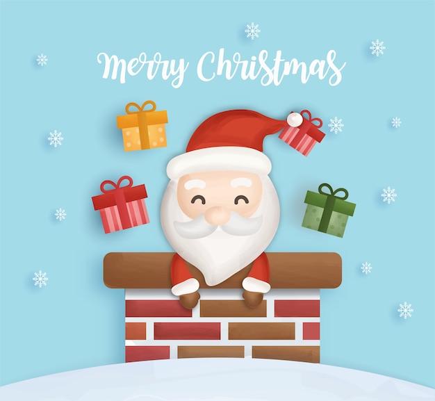 Cartão postal de natal com duende bonito e árvore de natal.