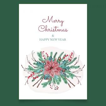 Cartão postal de natal com flor rosa