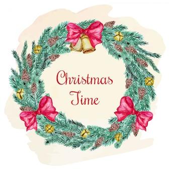 Cartão postal de natal com galhos de coníferas e arco
