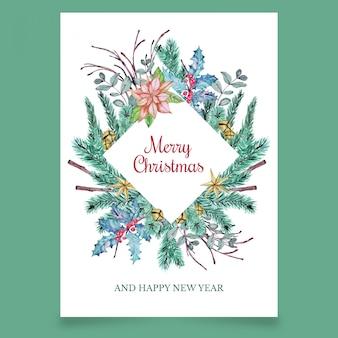Cartão postal de natal com galhos de coníferas e flor